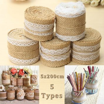 1PC 5cm x 200cm Natural Jute Burlap Roll White Lace Hessian Trim Table Runner Bands Rusticity Wedding Decor DIY Craft