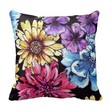 Colorful watercolor flower bouquet pattern throw pillow