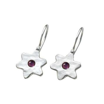 Silver Star Of David Ruby Red Stones