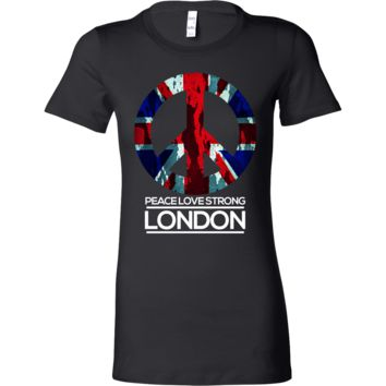 Peace Love London Strong Unite England Memorial Union Jack UK Bella Shirt