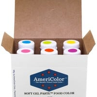Food Coloring AmeriColor - Electric Kit - Soft Gel Paste, 6 .75 Ounce Bottles