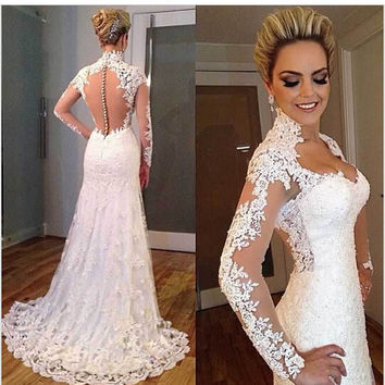 Lace Long Sleeve See Through Corset Wedding Dresses Mermaid Sweetheart Bridal Gowns 2016 Vintage Robe De Mariage  Fast Shipping