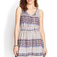 FOREVER 21 Folk Print Fit & Flare Dress Cream/Purple
