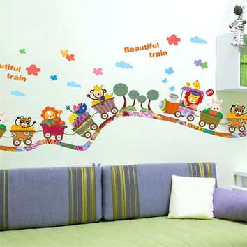 E5 2017 DIY Wall Sticker Muraux Adesivo De Parede Children Wall Stickers Cartoon Animal Train Decals Art Removable Nursery Kid