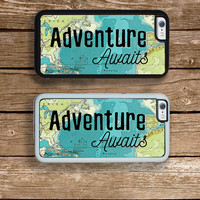 Adventure Awaits iPhone 6S 6 or PLUS  Phone Case Your Trim Choice Hard , Rubber or Tough Cases Travel Quote