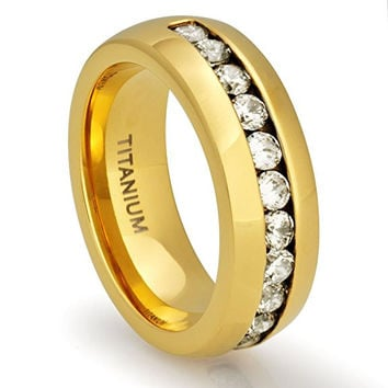 8MM 18K Gold Titanium Wedding Band Engagement Ring with Channel Set CZ | FREE ENGRAVING