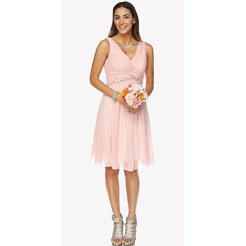 Juliet 786 Ruched V-Neck Cocktail Dress Embellished Waist Blush