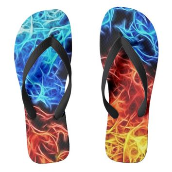 Blue and Red flames energetic pattern flip flops