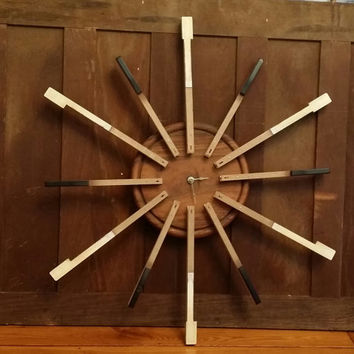Key to a Starburst Clock Mid Century Style Starburst Clock Made From Vintage Piano Keys Great Christmas Gift