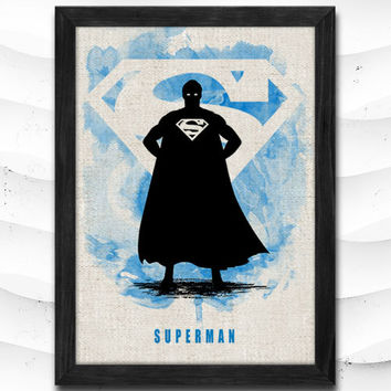 Justice League Watercolor Print Superman Poster Art Print Baby Room Illustrations Room Super Hero Nursery Kids Room Gift Linen Poster CAP162