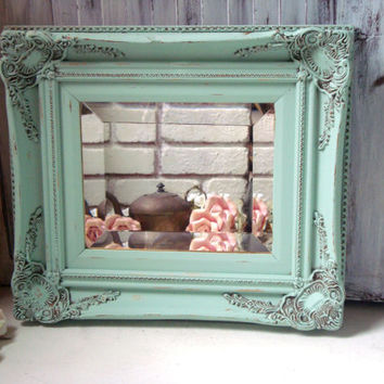 Mint Green Ornate Mirror, Pastel Green Vintage Mirror, Cottage Chic Mirror, Green Shabby Chic Mirror