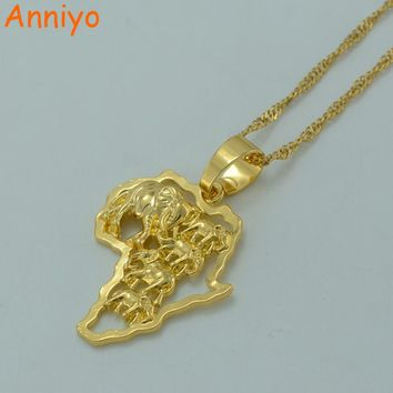 Anniyo Map of Africa Necklace Gold Color Elephant African Map Pendant Chain Women/Men Ethiopian Jewelry Nigeria #014306