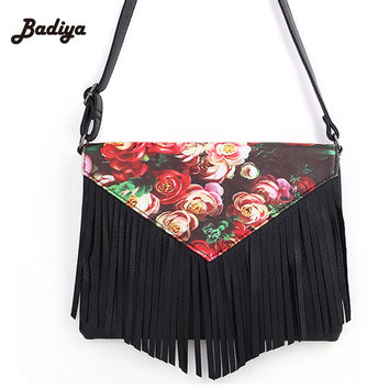 cffa120ba2 Fringed Purse Fashion Tassel Female Leather Handbags 3D Printed Flowers  Shoulder Bags Ladies Messenger Bags Women s