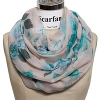 Scarfand Romantic Floral Print Infinity Scarves (Camellia Green Red)