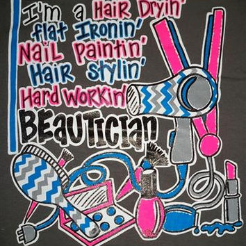 Southern Chics Funny Hair Dry Stylist Chevron Beautician Girlie Bright T Shirt