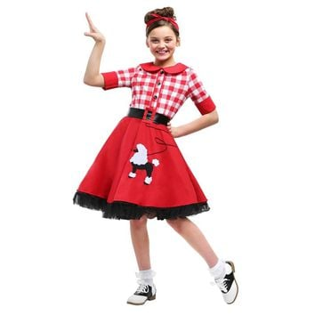 Classic Sweet Poodle Checkered Skirt 50S Darling Girls Historical Halloween Costume