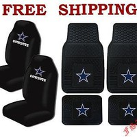Licensed Official NFL Dallas Cowboys Car Truck All Weather Rubber Floor Mats & Seat Covers