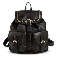Women's Backpack with Chain and Buckle Detail - Black