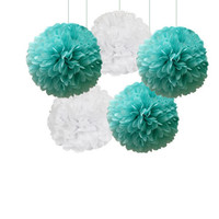 Tiffany Blue and White Tissue Paper Pom Poms 5 Piece Set - Weddings - Bridal Shower -Frozen - Birthday - Nursery - Party Decorations