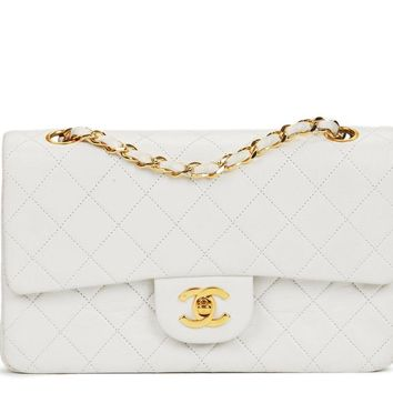 CHANEL WHITE QUILTED LAMBSKIN VINTAGE SMALL CLASSIC DOUBLE FLAP BAG HB1328