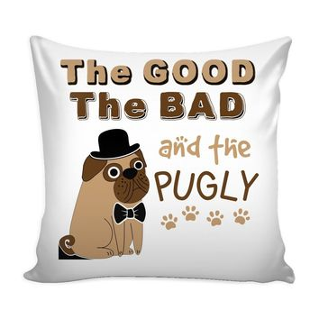 Pug Graphic Pillow Cover The Good The Bad And The Pugly