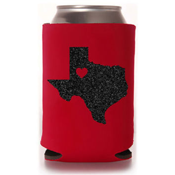 Glitter Texas TX Tech Love Red Can Cooler