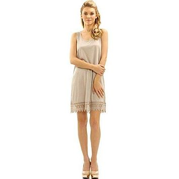 Womens Soild Knit Lace Tank Full Slip Dress Extender