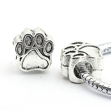 Charm Bracelets Beads Antique Silver Plated Bear Paw Pendants