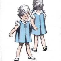 1960's Dress Pattern To Sew Toddler's Pinafore Dress And Blouse / Little Girl Child / UNUSED Vintage Sewing Pattern. Maudella Pattern 1381