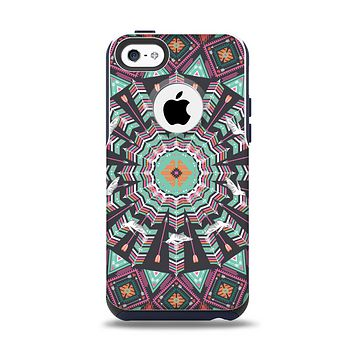 The Mirrored Coral and Colored Vector Aztec Pattern Apple iPhone 5c Otterbox Commuter Case Skin Set
