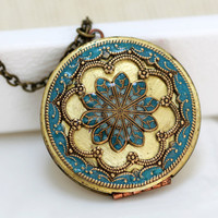 Locket turquoise blue locketfiligree locket by emmagemshop on Etsy