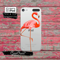 Pink Flamingo Pop Art Cute Bird Wanelo Inspired Case for Clear Transparent Rubber iPod Touch 5th Generation Case 5th Gen Cover