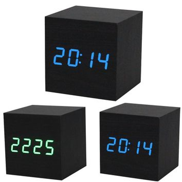 Top Grand New Design Style Digital LED Black Wooden Wood Desk Alarm Brown Clock Voice Control Reloj Despertador Free Shipping