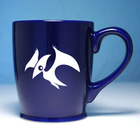 SALE - Pterodactyl Mug - Navy Blue - large ceramic dinosaur coffee cup