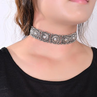 Bohemian Choker Silver Necklace
