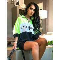 BALENCIAGA Fashion Women Casual Print Zipper Cardigan Sweatshirt Jacket Coat Windbreaker Sportswear