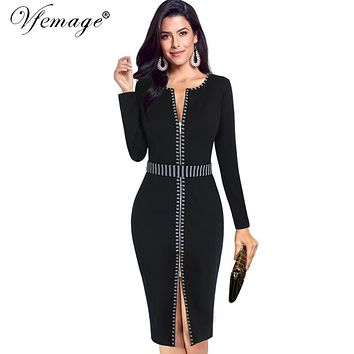 Vfemage Women Autumn Winter Elegant Front Zip Up Contrast Long Sleeve Slim Work Office Business Party Cocktail Sheath Dress 6266