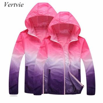 vertvie One Piece Gradient Print Running Jackets For Women Men Thin Skin Sports Jacket Hooded Cardigan Quick Dry Sun Protection