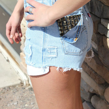 Light-Wash High-Waisted Shorts W/ Studded Back Pocket