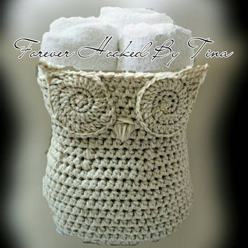 Large Handmade Crochet Owl Basket, Home Decor Owl Basket, Crochet Owl Basket, Owl Nursery decor, Crochet storage bin