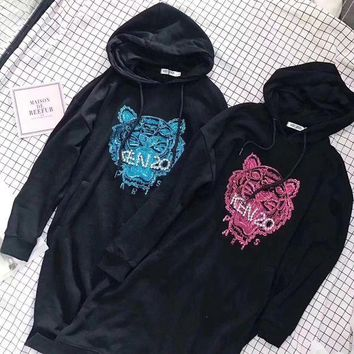 DCCKXT7 Kenzo' Women Fashion Embroidery Tiger Head Sequins Long Sleeve Hooded Sweater Mini Dress