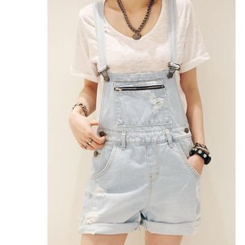 Blue 2018 Spring Summer Overalls Denim Shorts Women Simple Loose Fit  Bib Short  Casual Short Jeans Shorts Femme Feminino
