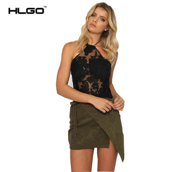2017 Summer Sexy Tops Lace  Solid Hollow Out Halter Floral Embroidery Tank Women Mesh Backless Transparent Tube Beach Clubwear