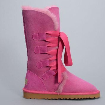 ESBON UGG 1005818 Tall Lace-Up Women Fashion Casual Wool Winter Snow Boots Roseo