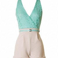Lace V-Neck Romper - Mint