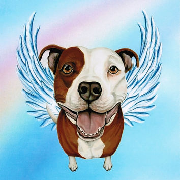 Pit Bull Angel - Pit Bull Art - Pit Bull Terrier - Dog Angels - Guardian Angels - Pet Memorial - Rainbow Bridge - Weeze Mace - 8x10