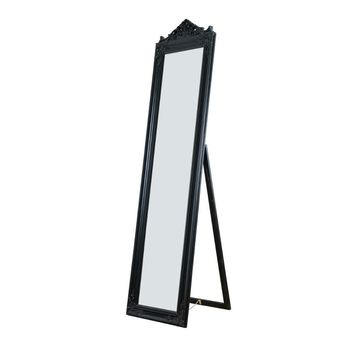 Camilla Full Length Standing Mirror with Decorative Design, Black