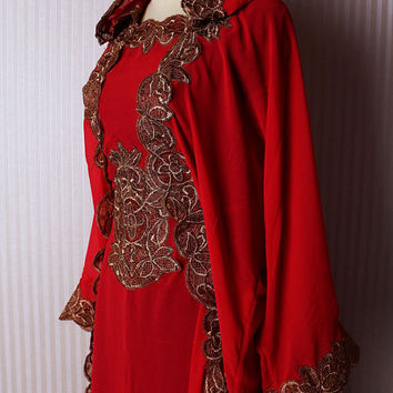 Kaftan Hoddie Caftan Dubai Gold Embroidery Petite Sheer Chiffon Red Maroon Wedding Caftan Maxi Dress