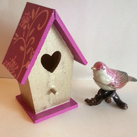 Miniature birdhouse - pink and gold flower and vines
