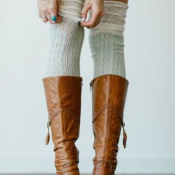 Slouch Top Boot Socks Mint Over The Knee Boho Pointelle Lace With Ivory Scrunch Tops Thigh High Knee High